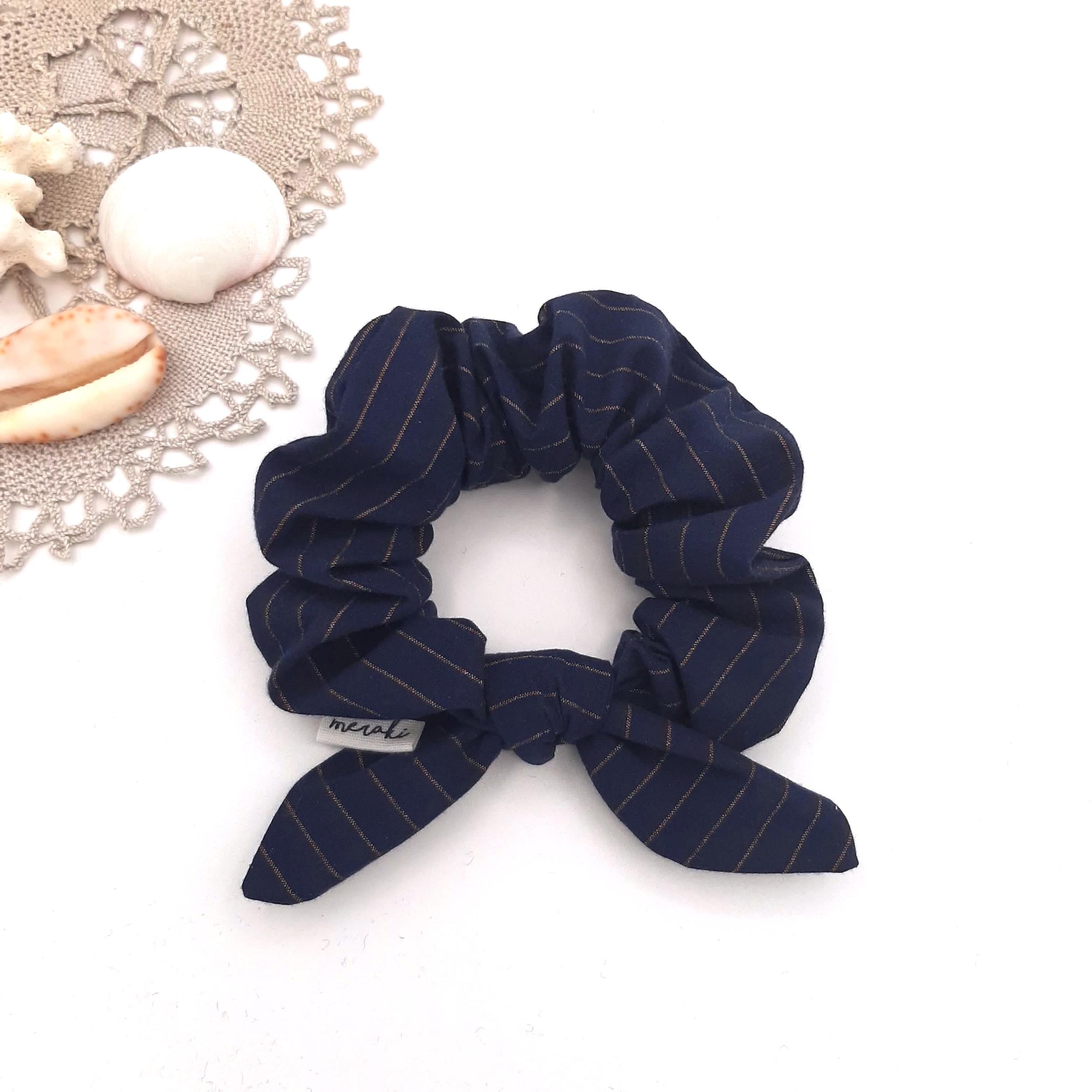 Coton bleu rayé cuivré