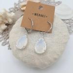 4B Hoops - White Crystal Drop silver