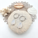 4C Hoops - White Crystal Drop silver