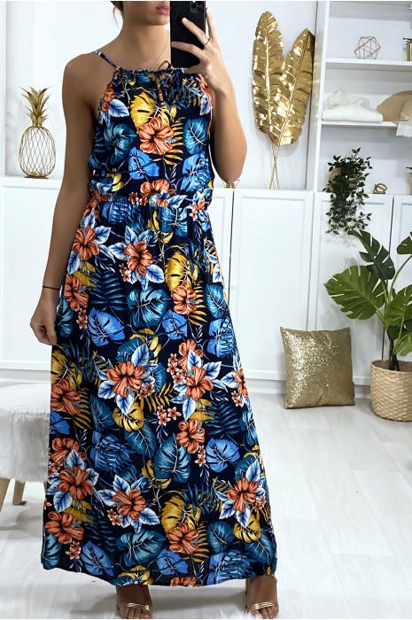 Robe longue bleu marine à motif fleuri