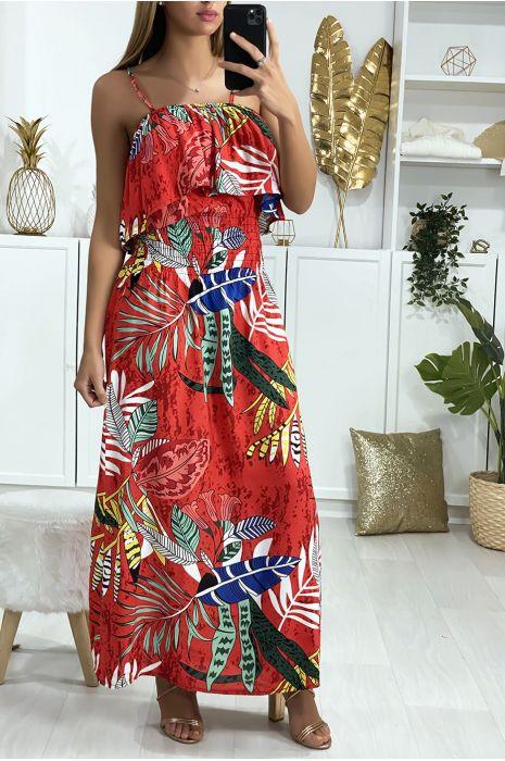 Robe longue rouge à motif feuille