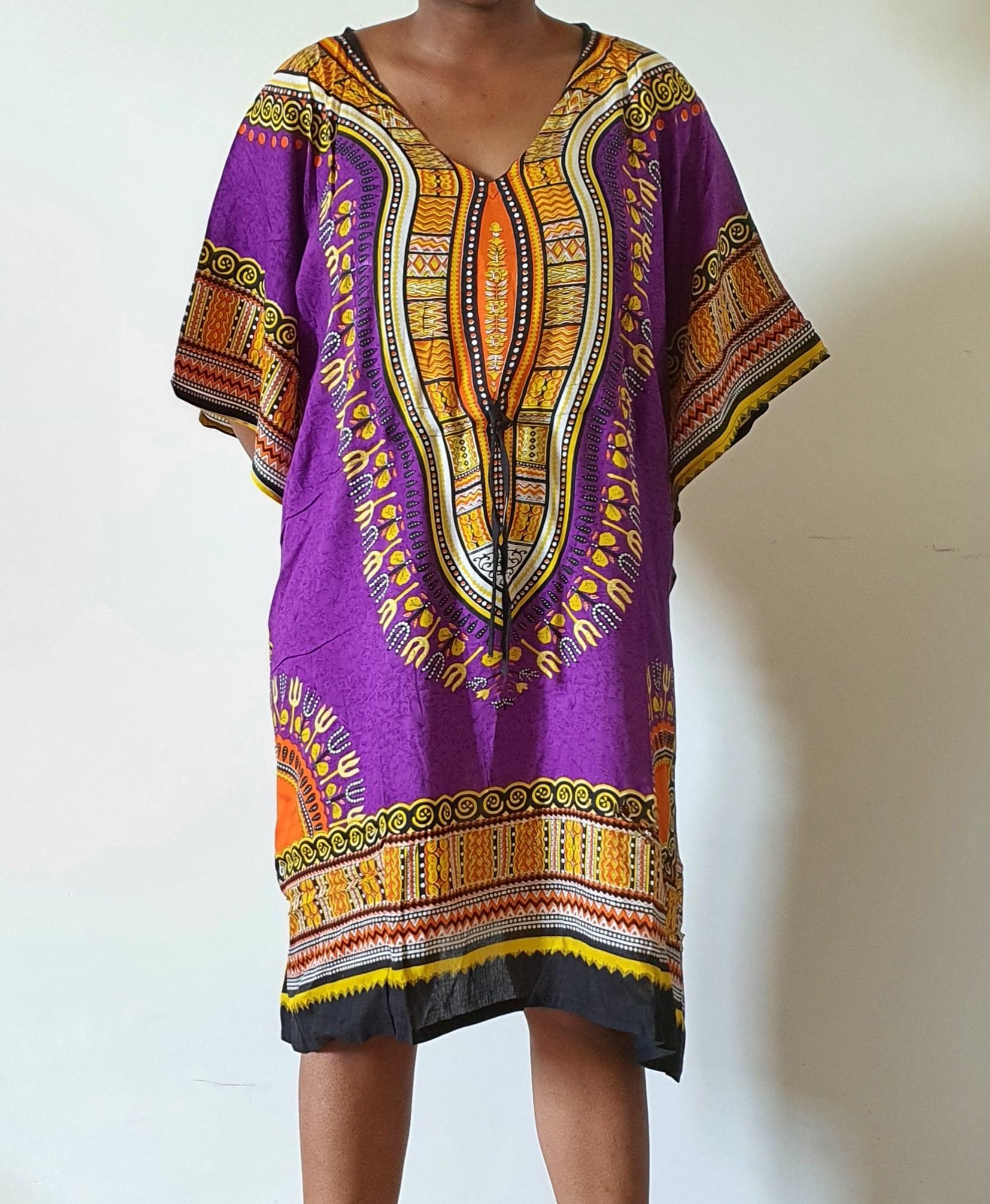 Boubou court 100% coton violet-orange