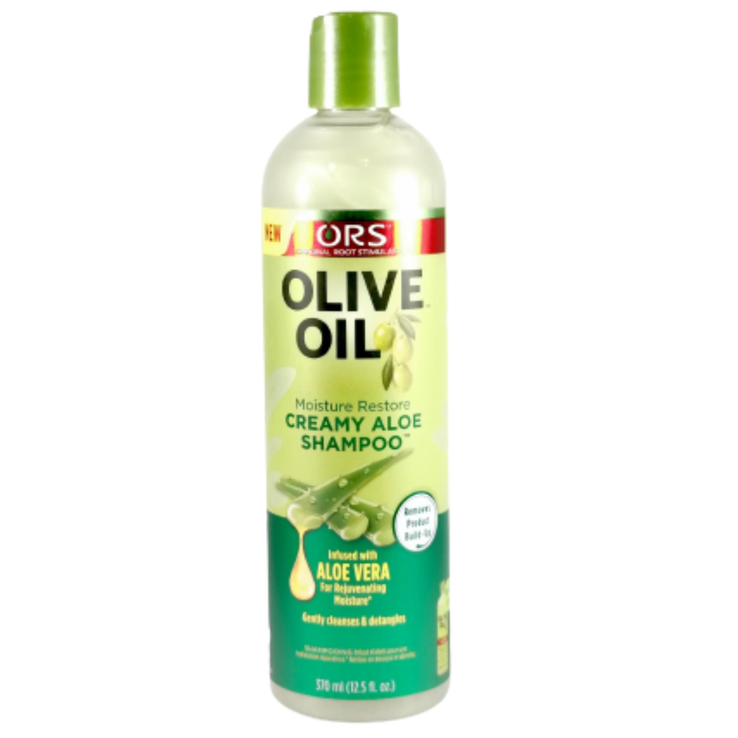 Shampooing olive & aloe vera. Démêle et fortifie les cheveux frisés, secs ou crépus- ORS