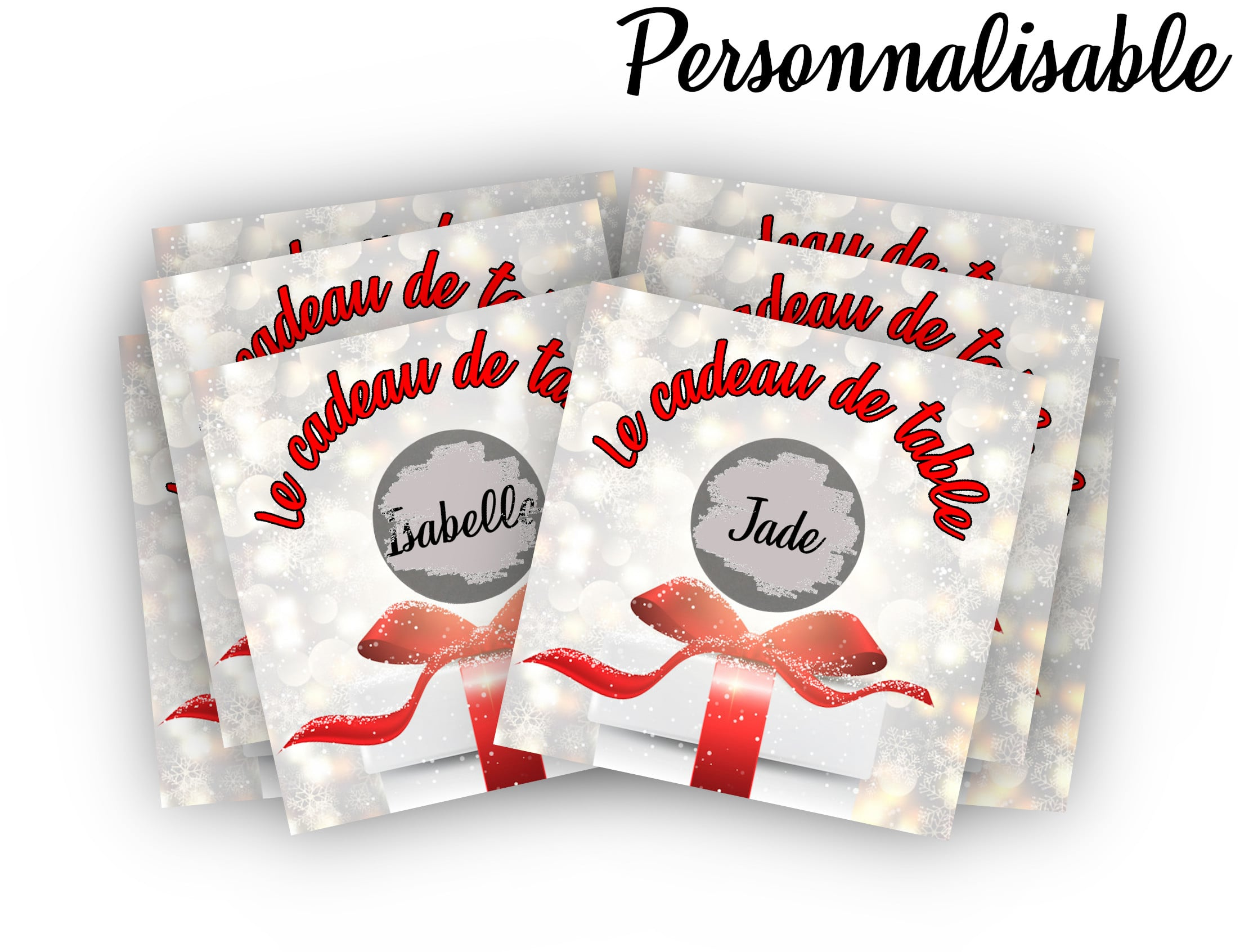 Carte à gratter personnalisable noël Cadeau de table