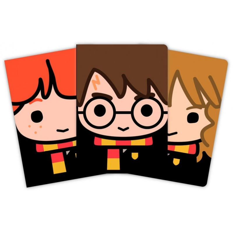 Harry Potter - Set de 3 carnets A6 Harry, Ron & Hermione