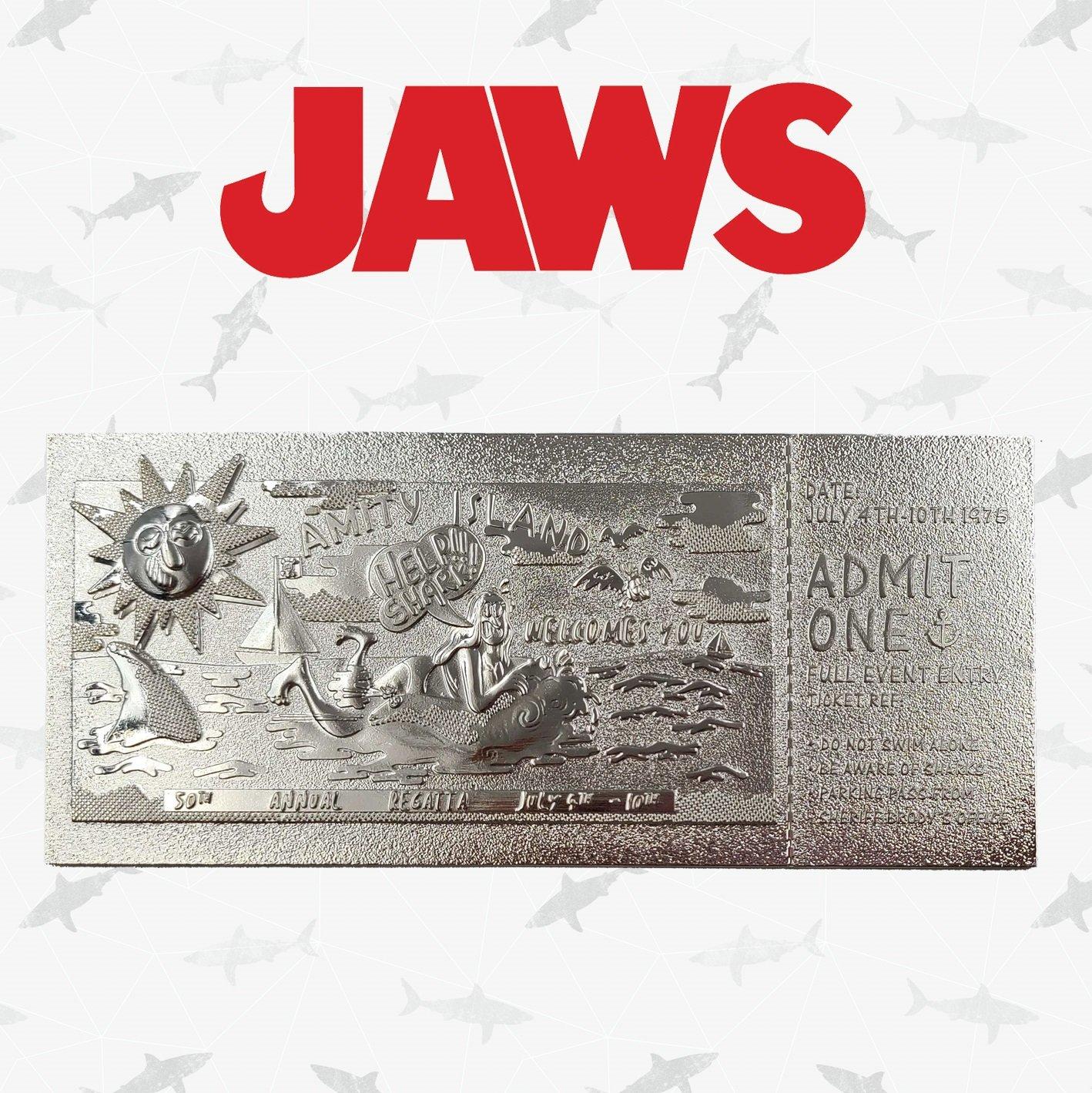 Jaws - Régate D\'Amity : Ticket plaqué argent collector
