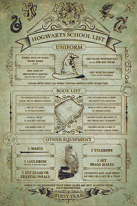 Warner Bros - Harry Potter : Poster Hogwarts School List