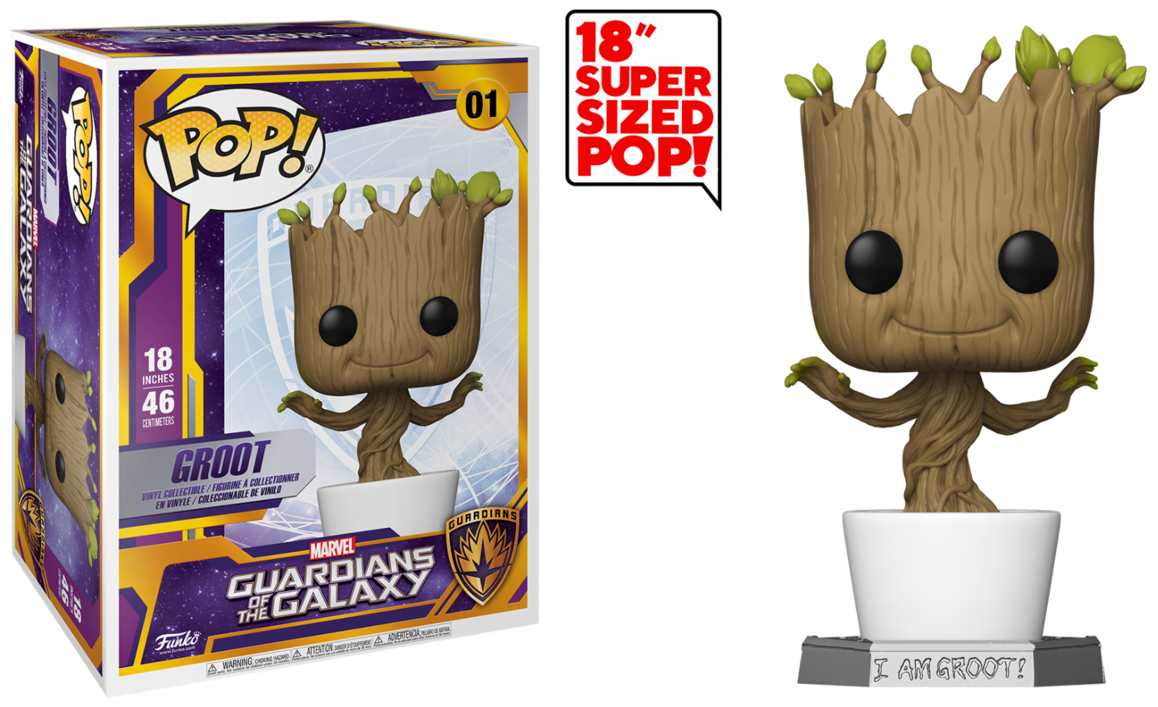 Marvel - Bobble Head Funko Pop N°01 : Groot (Super Sized 18\'\')