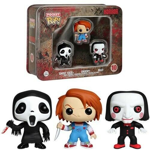 Horror - Funko Pocket Pop 3 Pack Tin : Ghost Face, Chucky and Billy