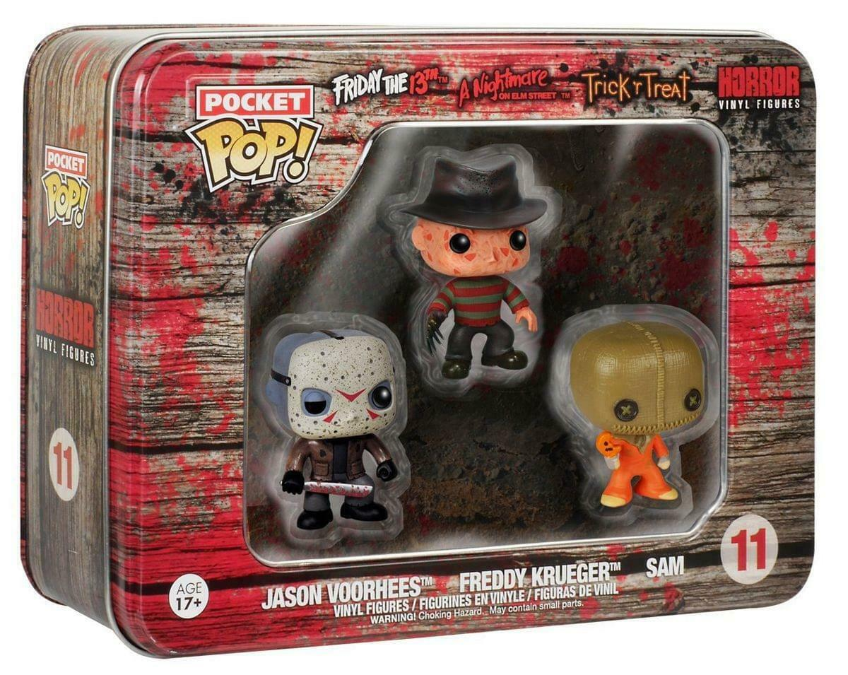 Horror - 3 Funko Pocket Pop Pack Tin : Jason Voorhees Freddy Kruger and Sam