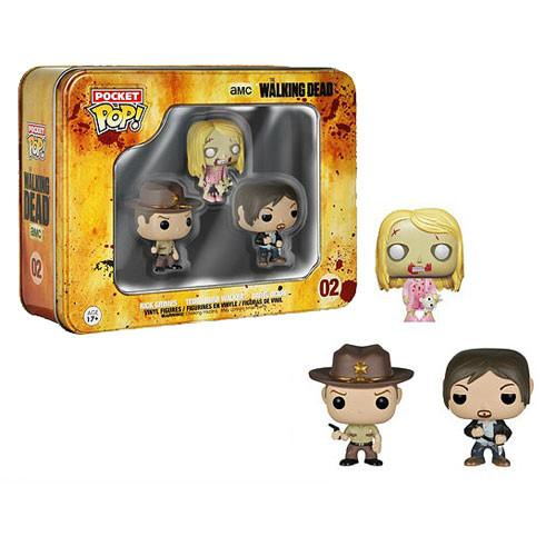 The Walking Dead - Funko Pocket Pop Pack 3 Tin : Rick Grimes, Teddy Bear Walker and Daryl Dixon