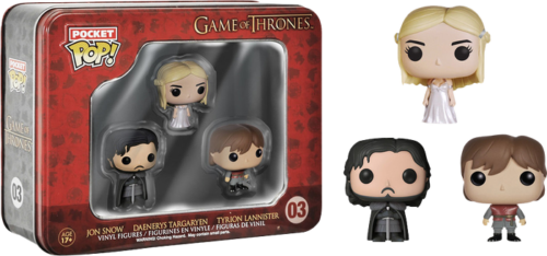 Game of Thrones - Funko Pocket Pop Pack 3 Tin : Jon Snow, Daenerys Targaryen et Tyrion Lannister