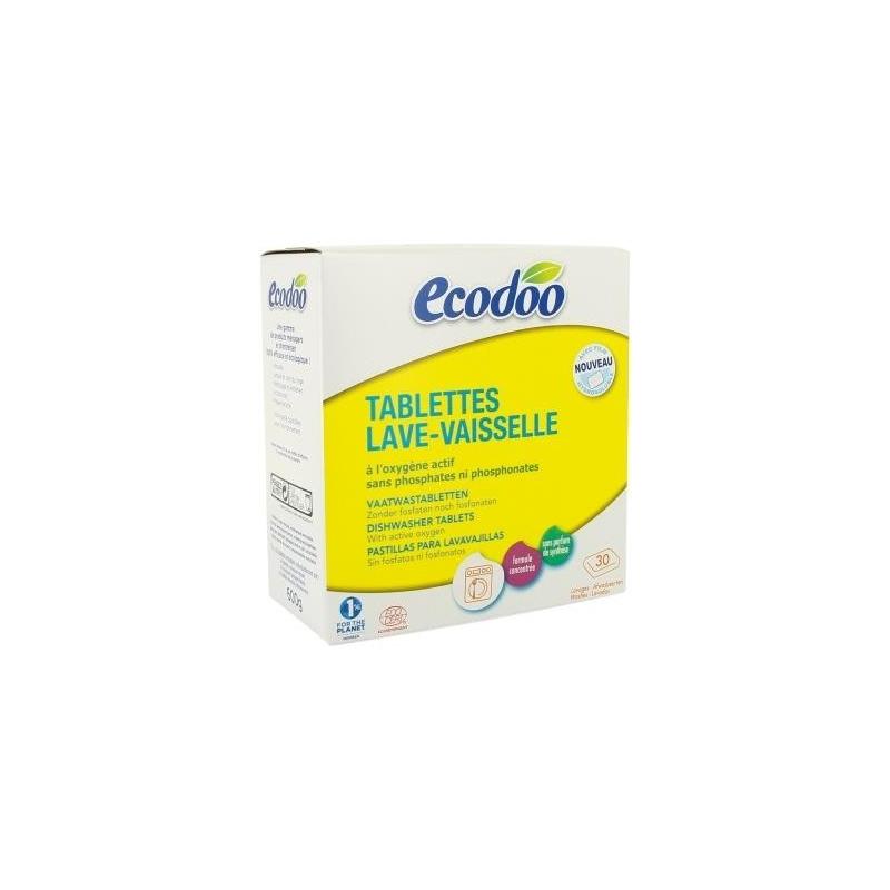 ECODOO Tablettes lave-vaisselle, 30 lavages écologique, à HE de Citron BIO - 600 g