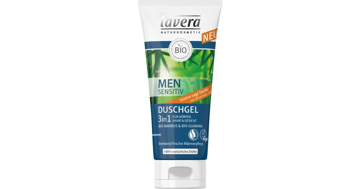 Lavera Men Sensitiv, Gel douche 3 en 1 BIO - 200 ml