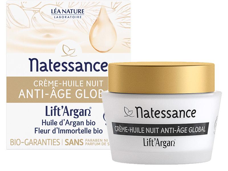 LIft Argan / Natessance La crème huile nuit divinissime immortelle BIO - pot 50 ml