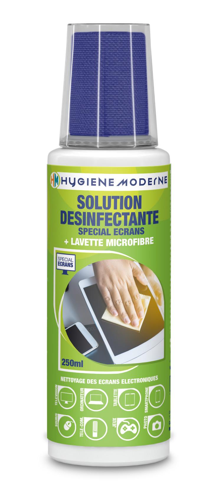 re02333_fr. HYGIENE MODERNE Solution désinfectante spéciale écrans 250 ML + lavette microfibre
