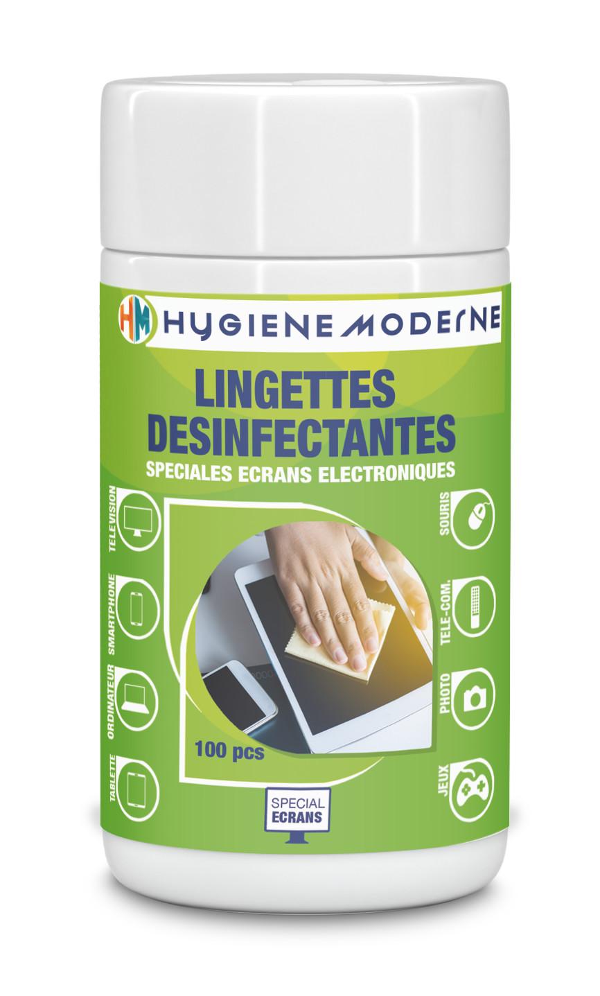 Grande Boite de 100 Lingettes nettoyantes et désinfectantes pour grands écrans HYGIENE MODERNE