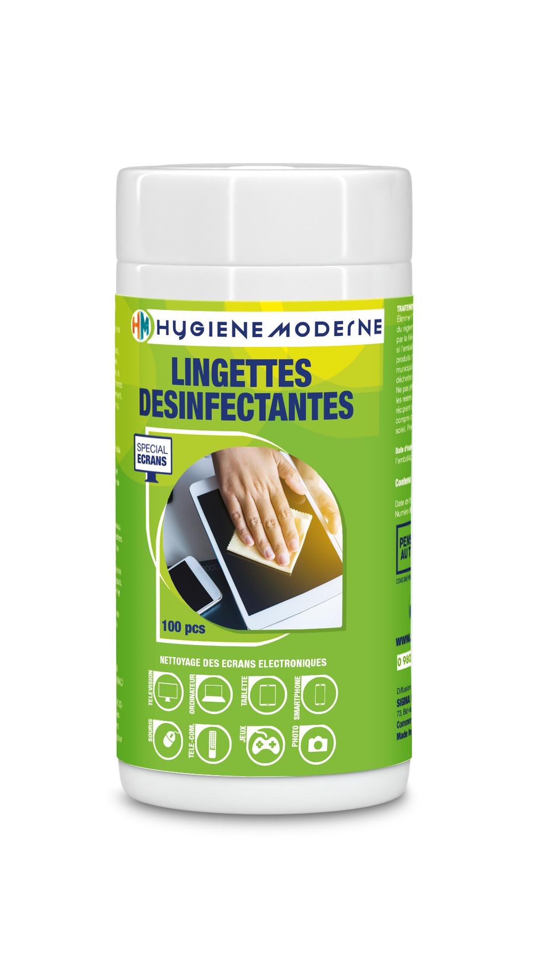 Petite Boite de 100 Lingettes nettoyantes et désinfectantes pour petits écrans HYGIENE MODERNE