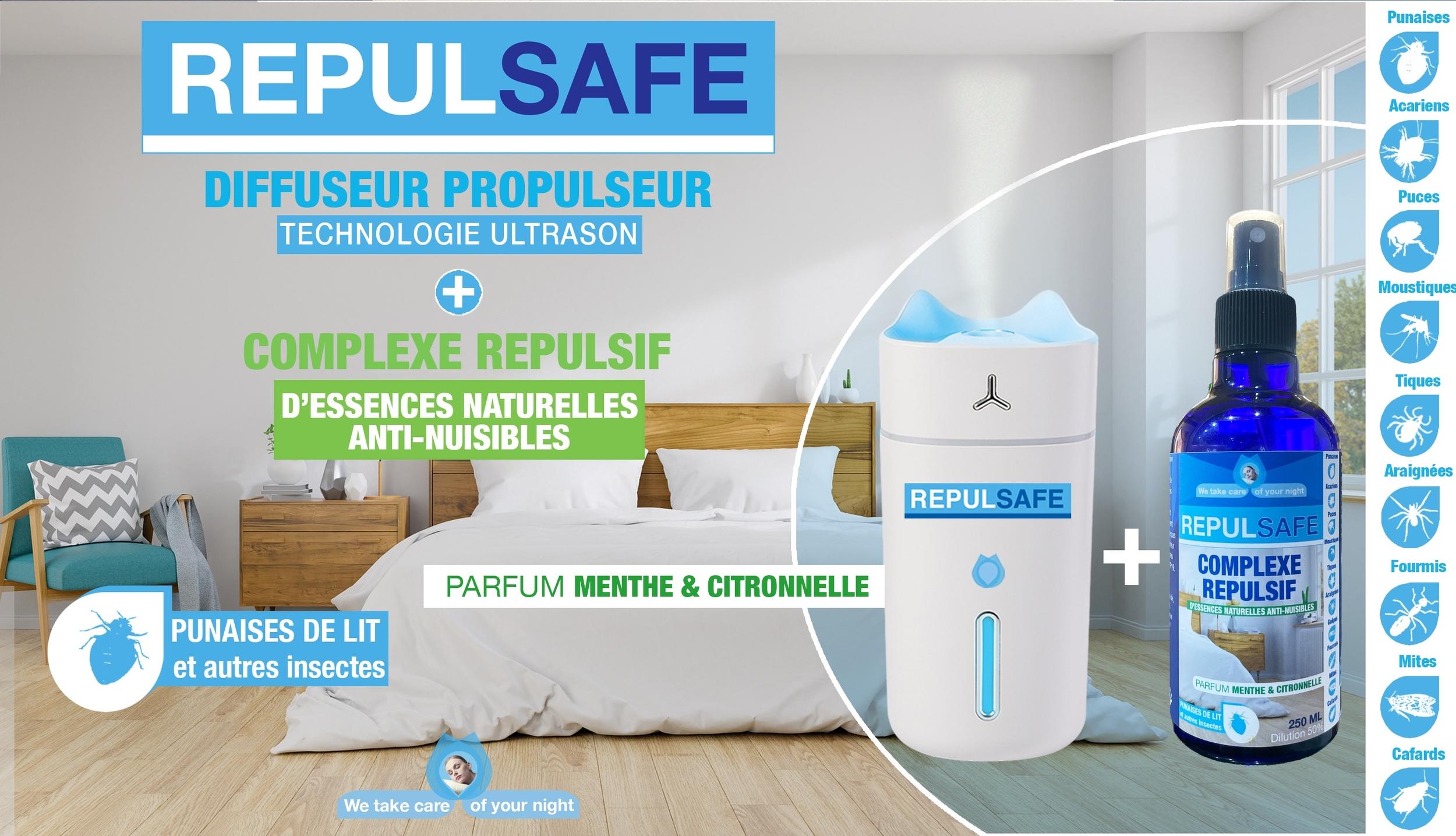 REPULSAFE Diffuseur du complexe répulsif d\'essences naturelles anti nuisibles