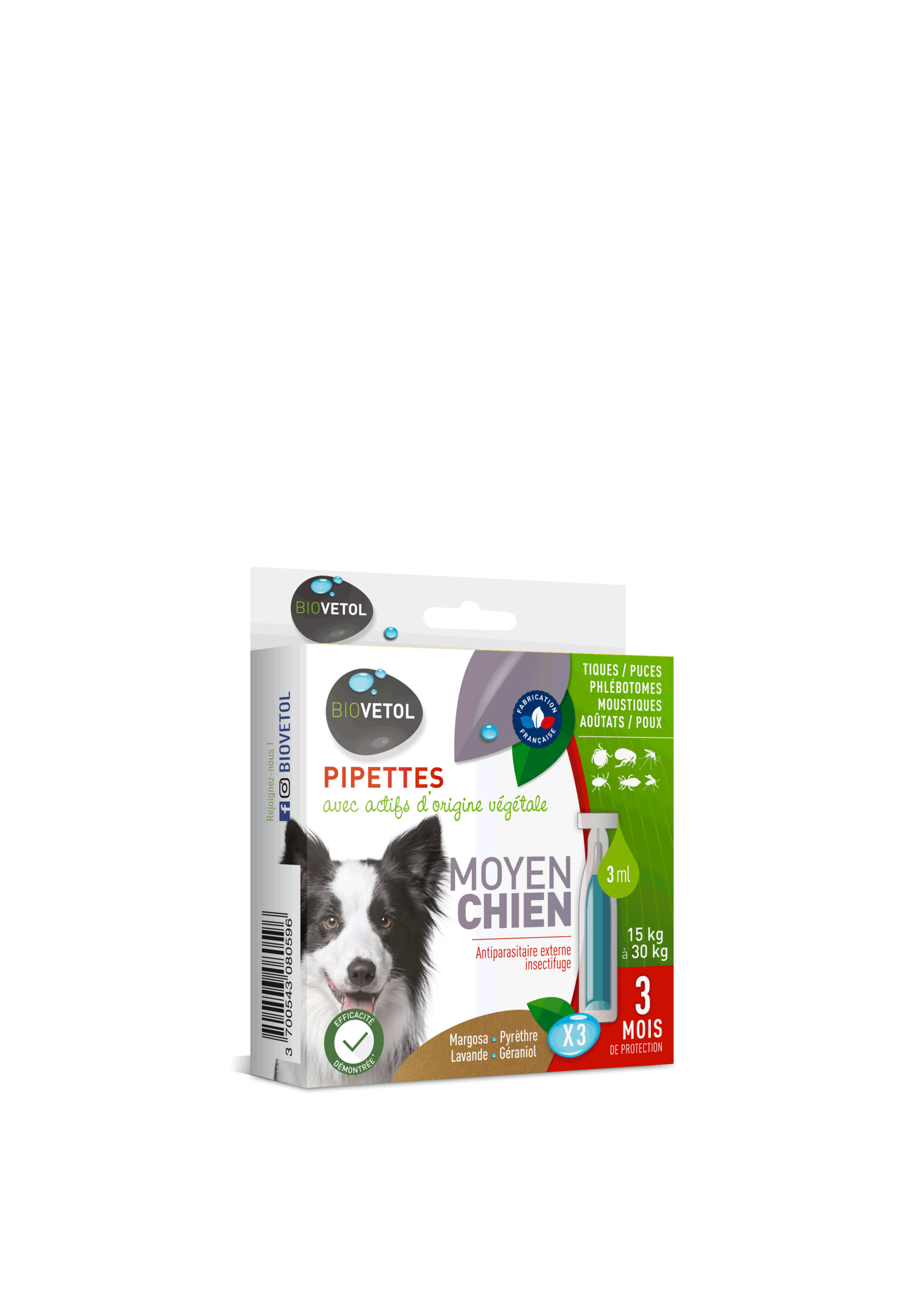 Pipettes insectifuge pour Chien Moyen