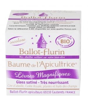 BALLOT-FLURIN Bio Baume de l\'Apicultrice Lèvres magnifiques, Gloss satiné Apicosmétique pot de 15 ML