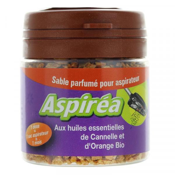 Sable parfumé pour aspirateur aux huiles essentielles de cannelle et d\'orange Bio 60g