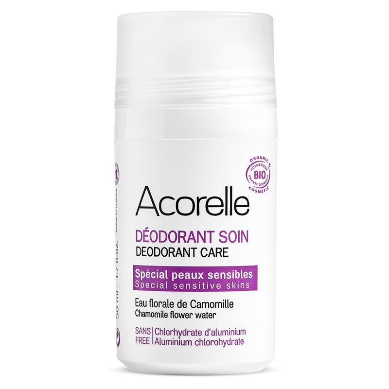 ACORELLE Déodorant Soin BIO spécial peaux sensibles à l\'Eau florale de Camomille  Roll-On 50 ML