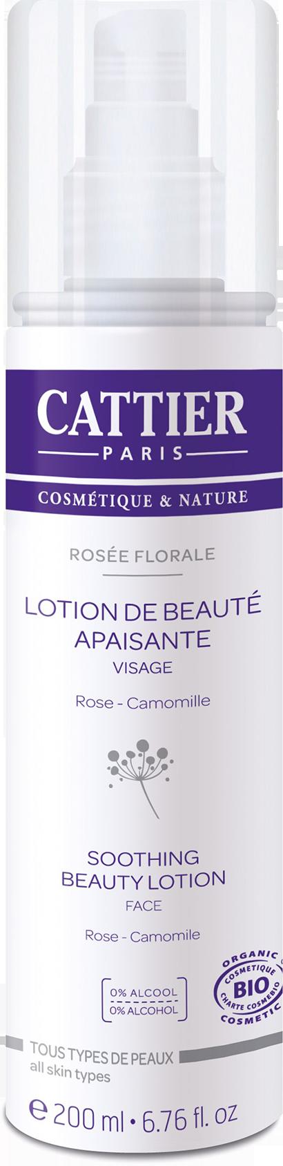 CATTIER BIO Rosée Florale Lotion de Beauté Visage Rose-Camomille Tous Types de Peaux Flacon Spray de 200 ML