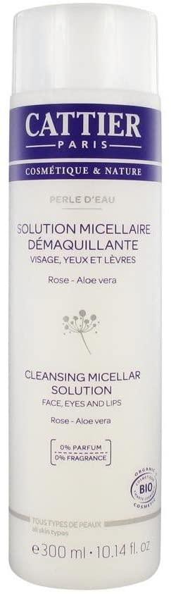 CATTIER Perle d\'eau Solution Micellaire Visage-Yeux-Lèvres à la Rose et à l\'Aloé Véra Flacon 300 ML