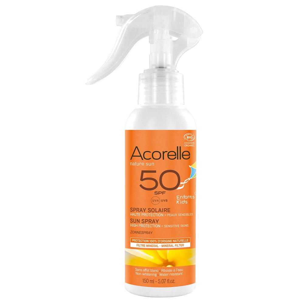 ACORELLE Spray solaire enfants, haute protection peaux sensibles 50 SPF, 150 ml