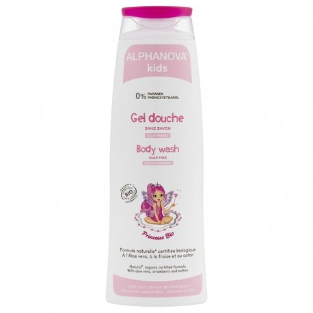 ALPHANOVA kids Princesse BIO Gel Douche à la Fraise  Flacon 250 ML