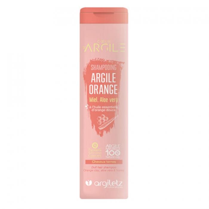 ARGILETZ Shampooing argile orange Miel, Aloe vera à l\'huile essentiel d\'orange douce cheveux ternes 200Ml