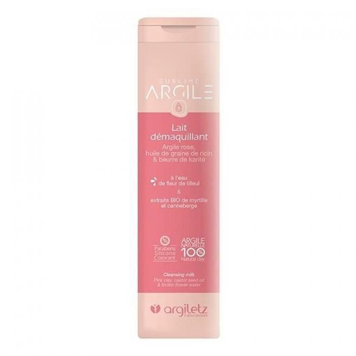 ARGILETZ Lait démaquillant argile rose huile de farine de ricin & beurre de karaté, eau de fleur de tilleul 250ML