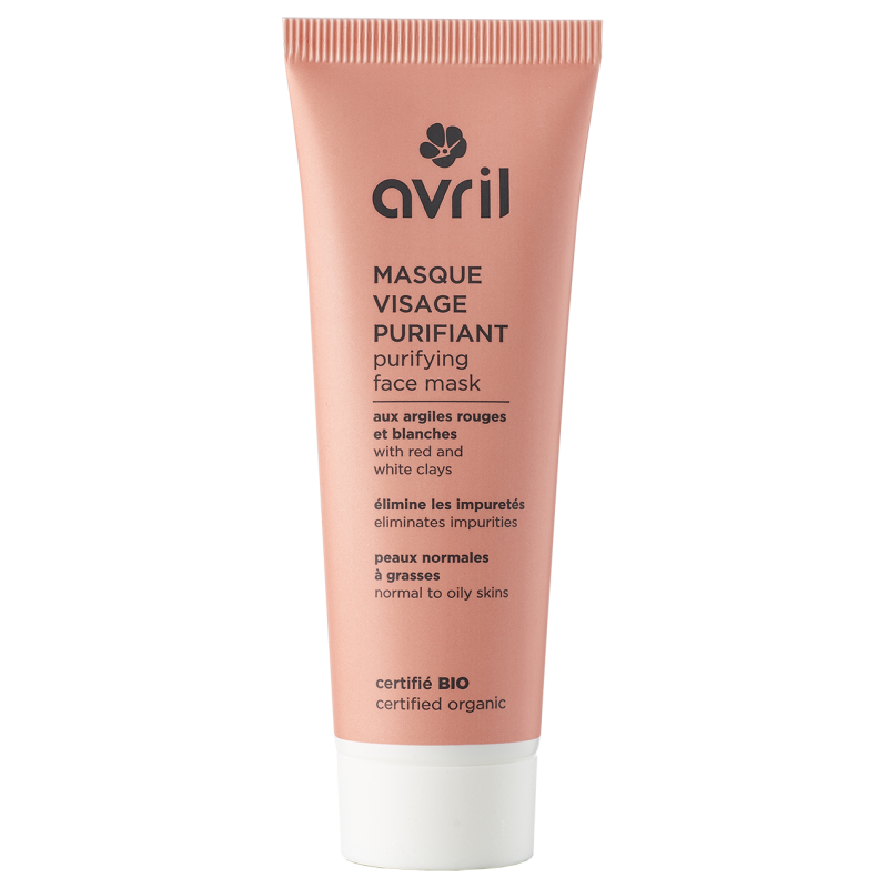 AVRIL BIO Masque Visage Purifiant Argiles rouges et blanches  peaux normales à grasses Tube 50 Ml