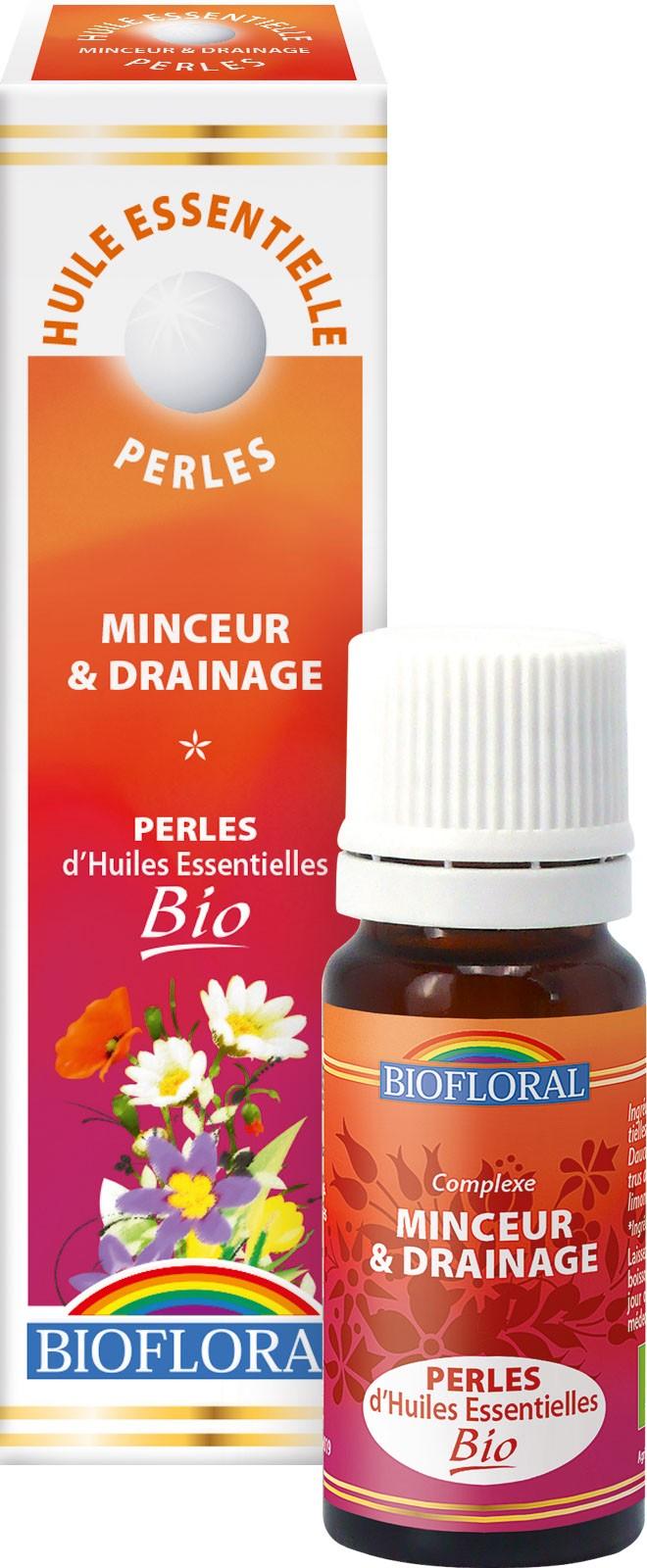 BIOFLORAL Huille essentielle Perles BIO Minceur et Drainage Aromathérapie 300 Perles Flacon 20 ML