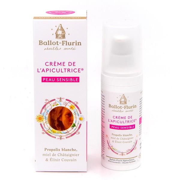 BALLOT-FLURIN BIO Crème de l\'Apicultrice Peau Sensible Propolis blanche miel de Châtaignier Elixir Couvain Flacon pompe 30 ML