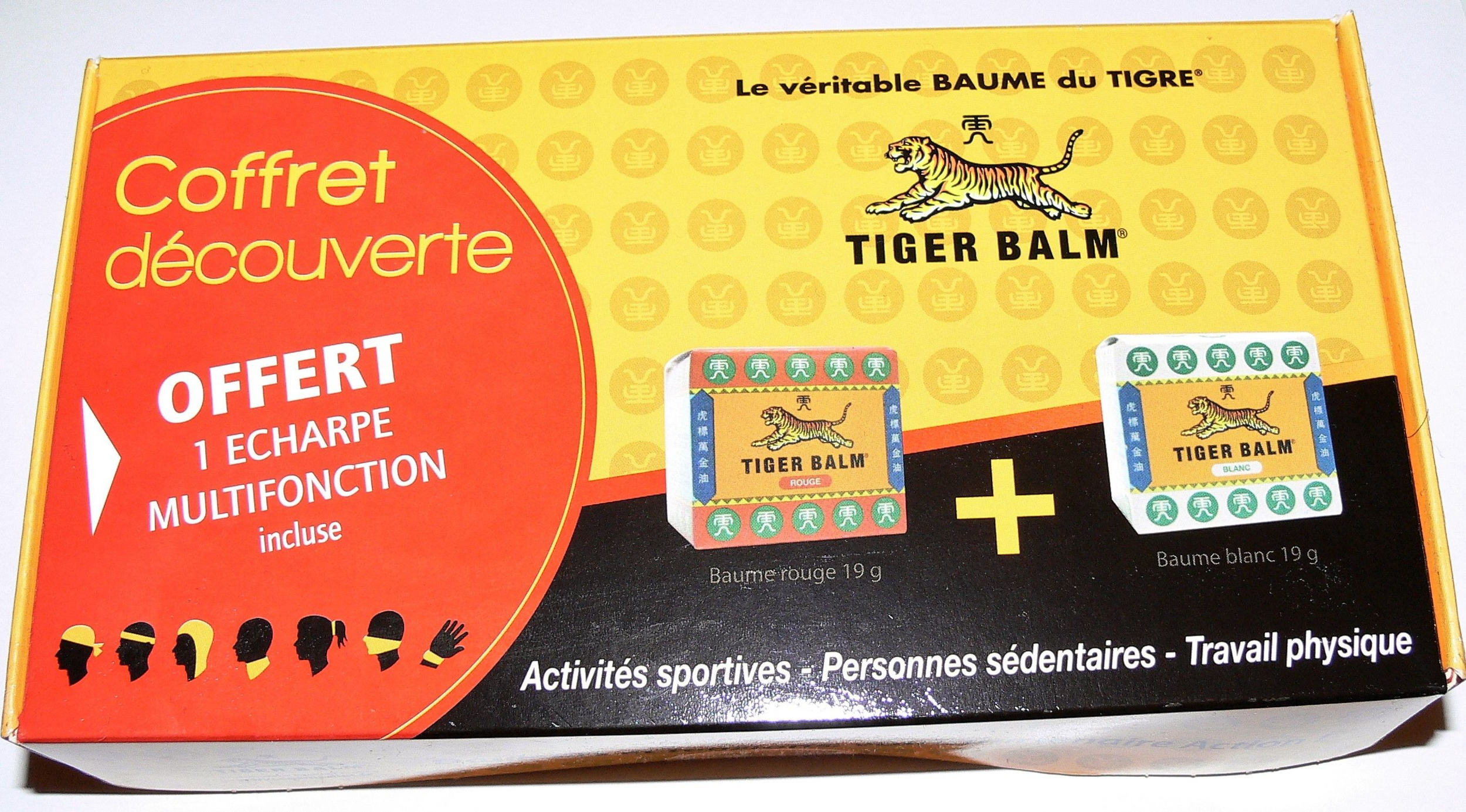 Baume du Tigre Coffret découverte : Baume blanc 19 g + Baume Rouge 19 g + Echarpe multifonction contre les douleurs et les tensions