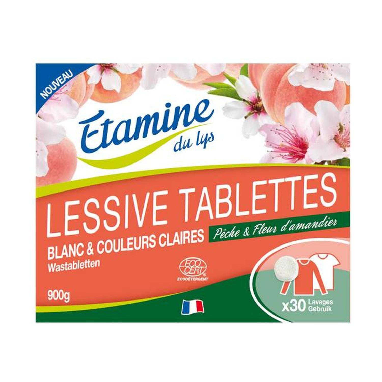 ETAMINE DU LYS Lessive Tablettes Pêche & Fleur d\'amandier Ecocert - 30 unités