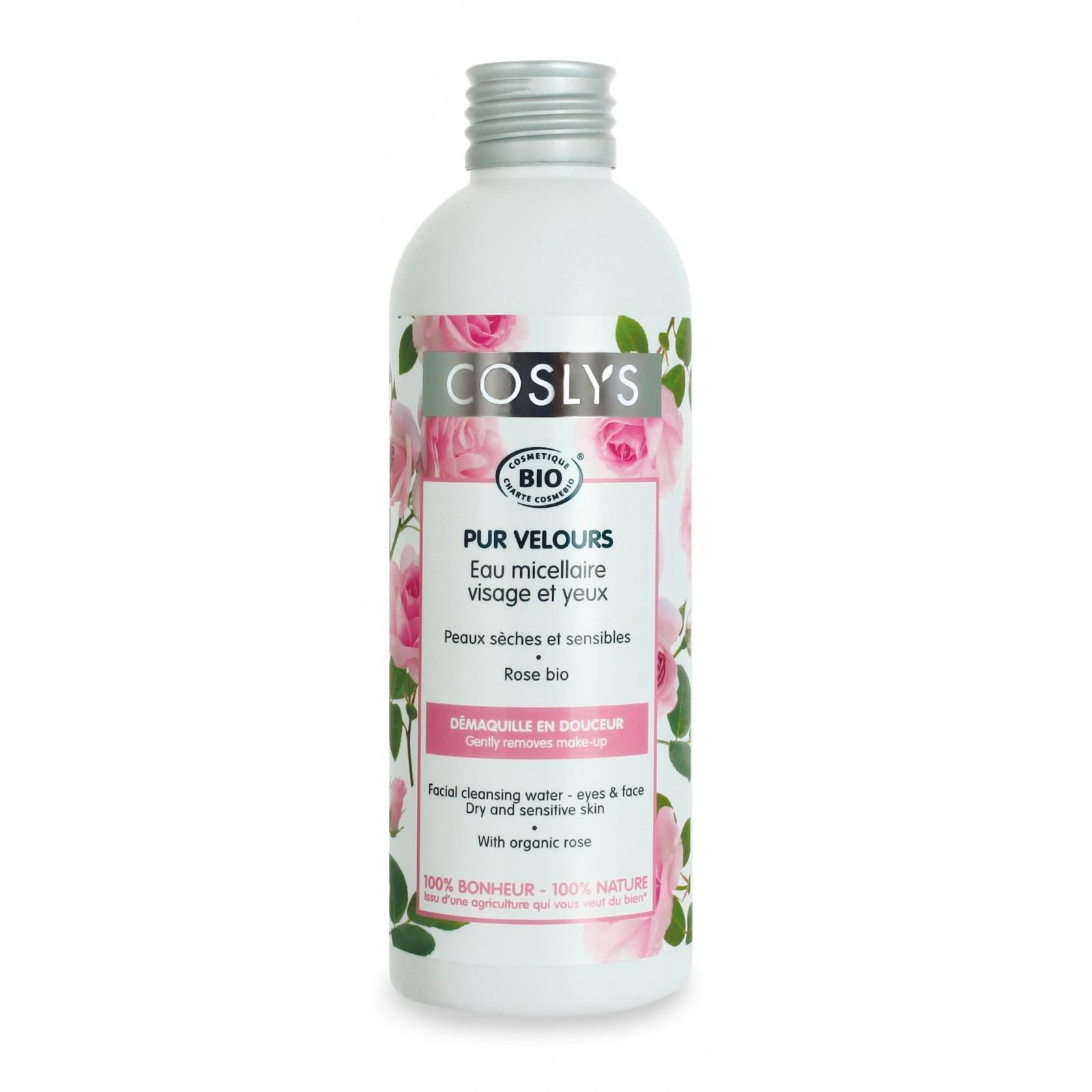 COSLYS Eau micellaire démaquillant visage BIO à la Rose pour peaux sensibles et sèches - 200 ml
