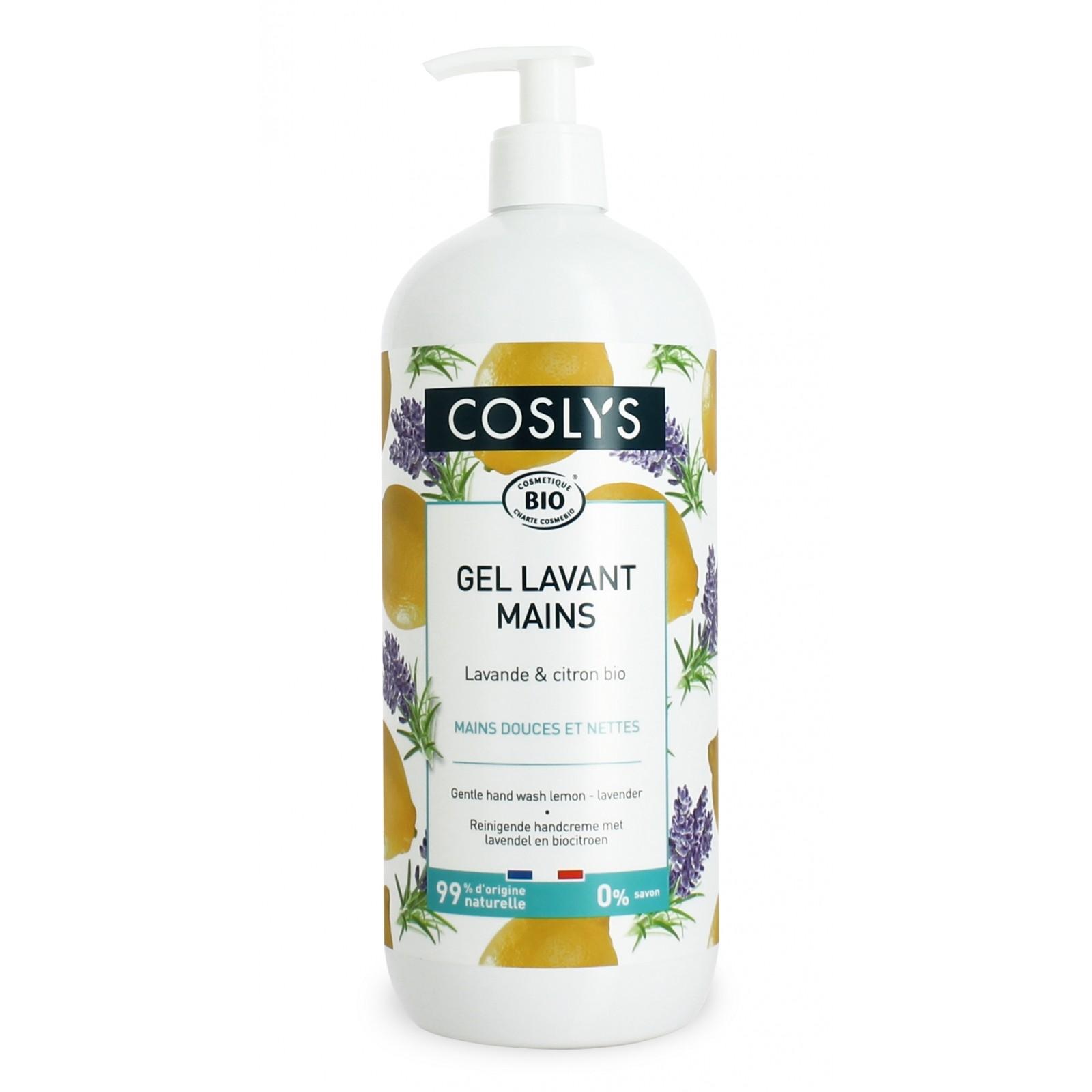 COSLYS Gel lavant mains lavande, citron BIO - 1 litre