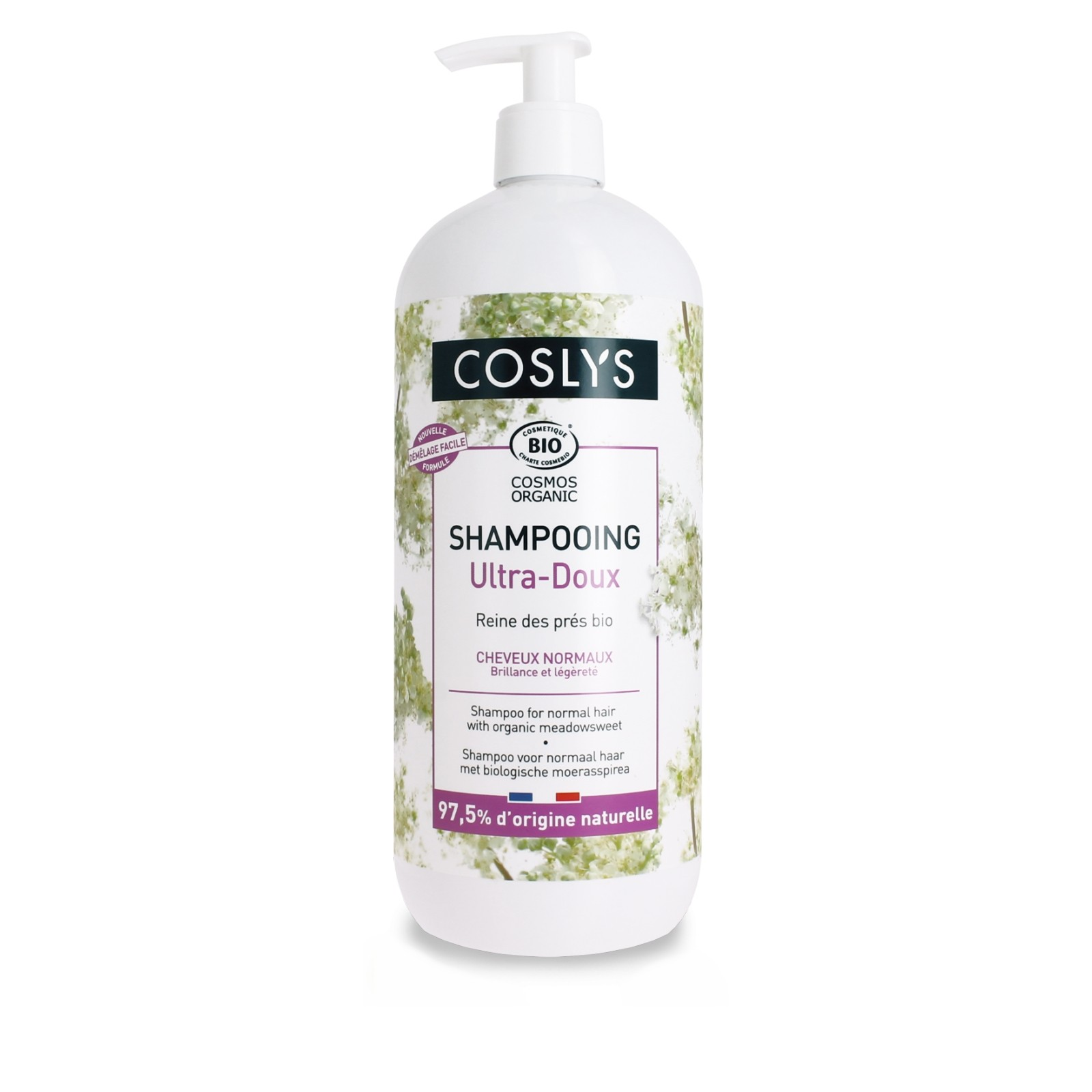 COSLYS Shampoing cheveux normaux  + pompe Bio 1 litre