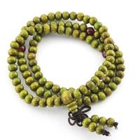 Bracelet mala bois de santal multitours nœud tibétain vert