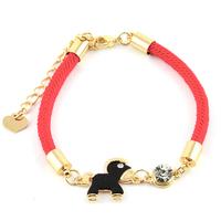 Bracelet coton tressé rouge bélier noir