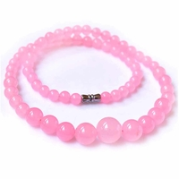 Collier perle pierre Calcédoine 6-14mm 45cm - Selene - Rose - TerreZen