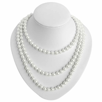 Collier perle 8mm long 1m50 - Japon - Blanc nacré - TerreZen