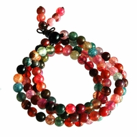 Bracelet perle pierre tourmaline 4 rangs 6mm 45cm 111 grains - Naude - Multicolore - TerreZen