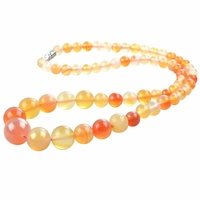 Collier pierre agate perles 6-14mm 47cm Alyte orange