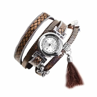 Montre bracelet quartz brune double tour Koda