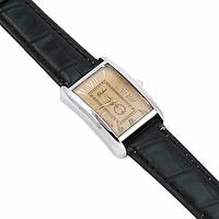 Montre bracelet noire quartz cadran 24mm Tilco