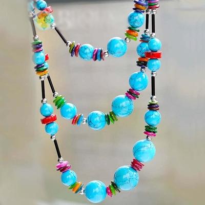Collier Style tibétains en perle de turquoise